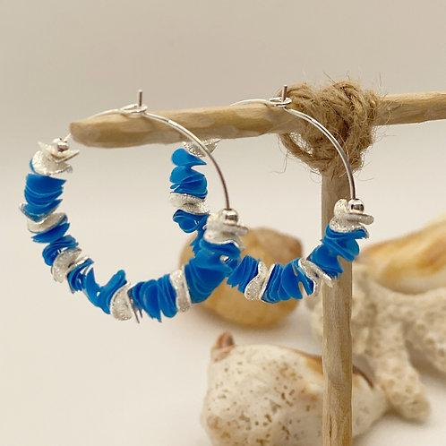 Deep Blue Recycled Disc Bead Hoop Earrings in Silver