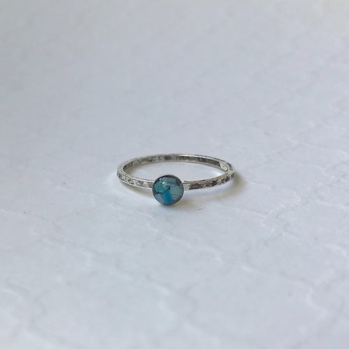 SZ 8 Blue Round Mindfully Mined Micro Plastic Stacking Ring in Silver