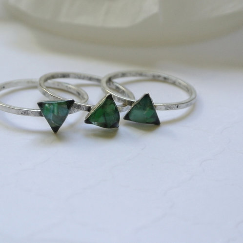 SZ 7 Green Triangle Silver Mindfully Mined Micro Plastic Stacking Ring