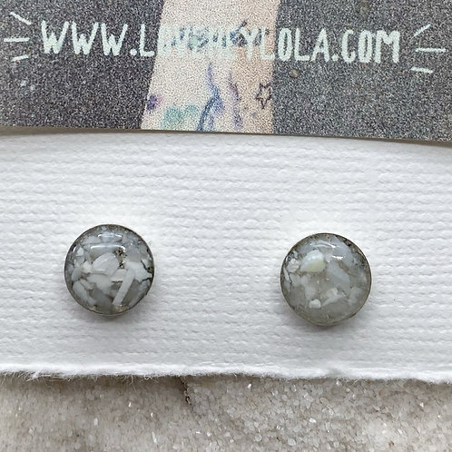 White Round Post Plastic Trash Earrings