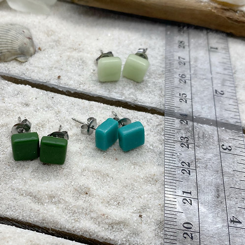 Recycled Glass Post Earrings - 3 Pairs in The Grass is Greener