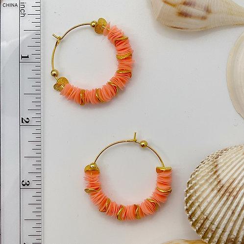Coral / Peach Recycled Disc Bead Hoop Earrings