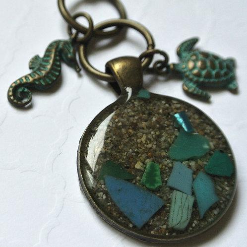 Sea Turtle and Seahorse Micro Plastic Sand Pendant