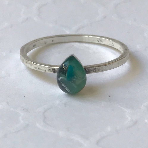 SZ 7 Caribbean Green Teardrop Silver Mindfully Mined Micro Plastic Stacking