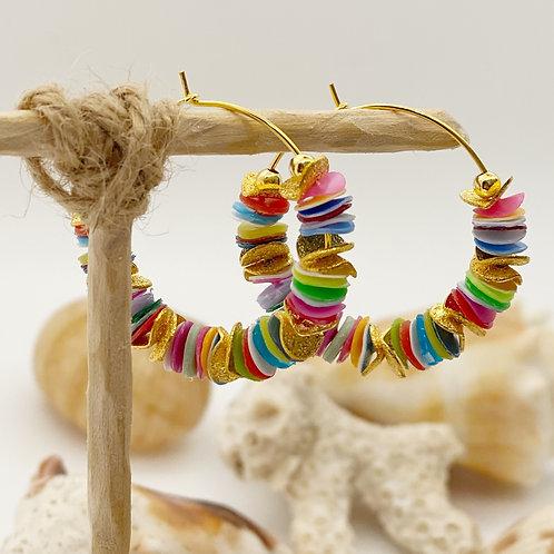 Multi-Colored Recycled Disc Bead Hoop Earrings in Gold