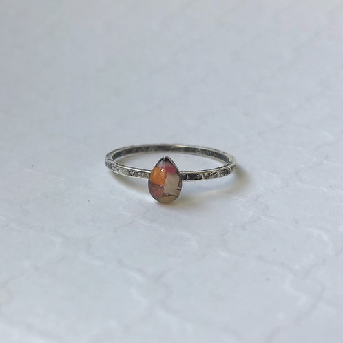 SZ 8 Sunset Teardrop Mindfully Mined Micro Plastic Stacking Ring in Silver