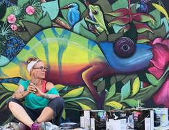Nature mural Rainforest mural Lava nightclub painted by Peoria, Illinois muralist Jessica McGhee Hey Lola