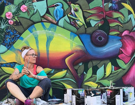 Nature mural Rainforest mural Lava nightclub painted by Peoria, Illinois muralist Jessica McGhee Hey Lola