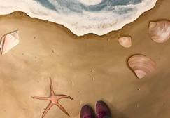 Floor mural beach mural painted in Peoria Illinois at Saddle Up Nightclub by Jessica McGhee Hey Lola Peoria Illinois muralist