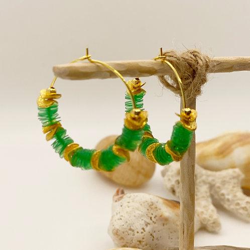 Green Recycled Disc Bead Hoop Earrings