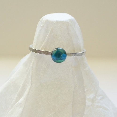 SZ 7 Blue Round Silver Mindfully Mined Micro Plastic Stacking Ring