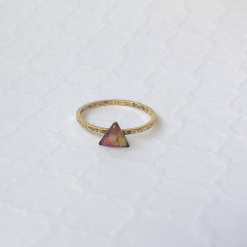 SZ 8 Sunset Triangle Mindfully Mined Micro Plastic Stacking Ring in Gold