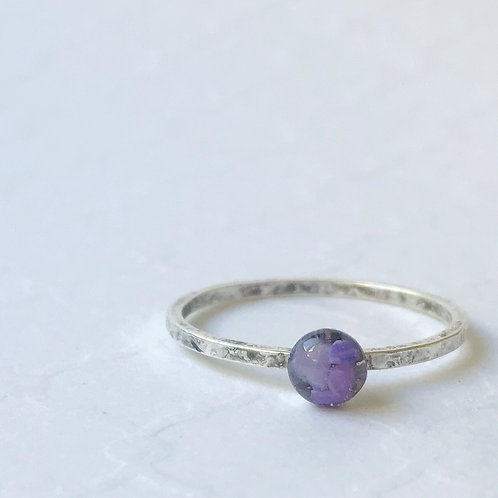 SZ 9 Urchin Purple Round Marine Debris Stone Jewelry Ring in Silver