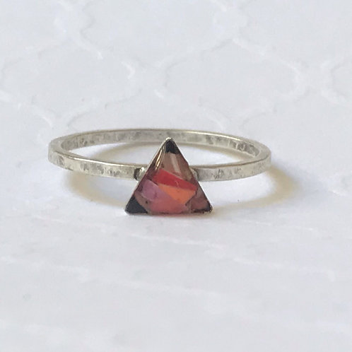 SZ 7 Silver and Pink Triangle Mindfully Mined Micro Plastic Stacking Ring