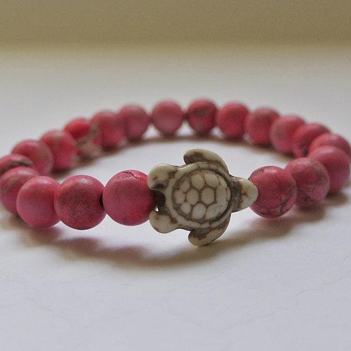 Pink Matte Jasper Turtle Bracelet