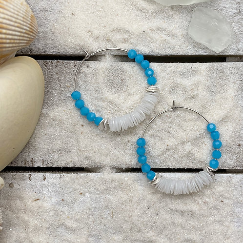 Water Bottle Trash Beads with White Gold Filled Hoop Earrings