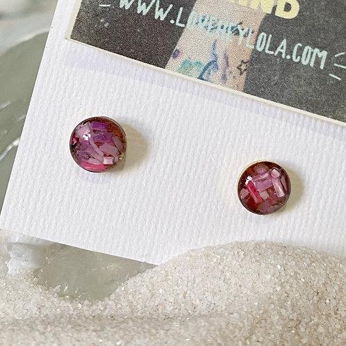 Pink Gold Circle Ocean Plastic Marine Debris Earrings