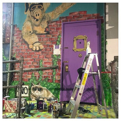 Alf Friends Door Grumpy Cat mural in Peoria Illinois painted by muralist Jessica McGhee Hey Lola loveheylola