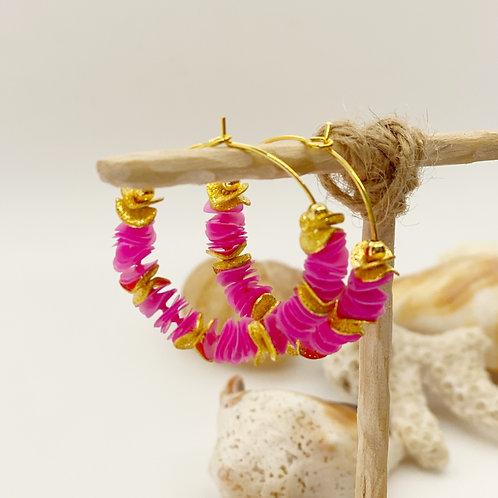 Bright Pink Recycled Disc Bead Hoop Earrings