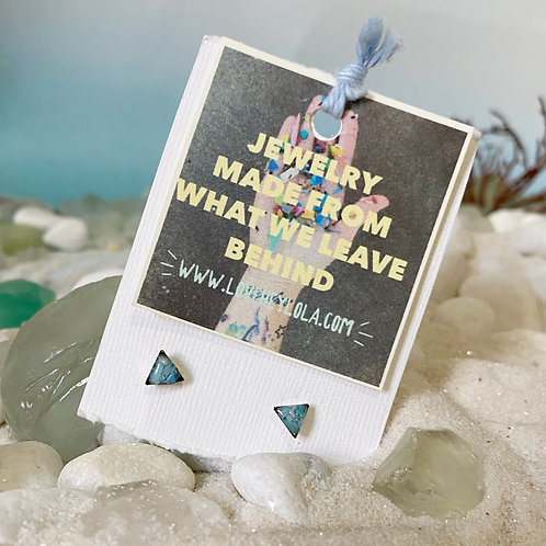 Sky Blue Triangle Ocean Plastic Marine Debris Earrings