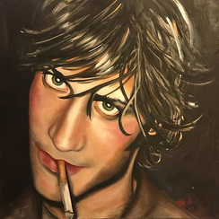 Painting of good looking guy smoking a cigarette