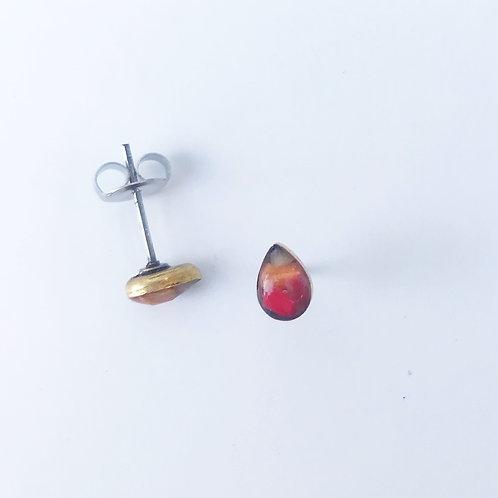 Gold and Sunset Teardrop Ocean Plastic Marine Debris Earrings