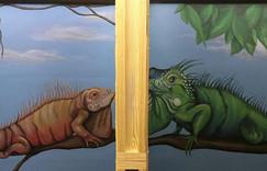 Iguana murals bathroom murals in Lava nightclub painted by Peoria, Illinois muralist Jessica McGhee Hey Lola