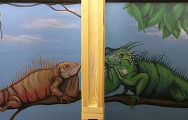 Iguana murals bathroom murals in Lava nightclub painted by Peoria, Illinois muralist Jessica McGhee Hey Lola