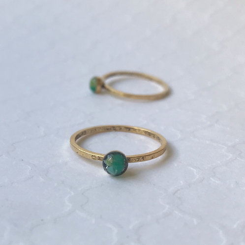 SZ 9 Caribbean Green Round Marine Debris Stone Jewelry Ring in Gold