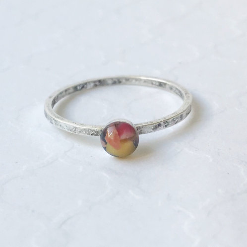 SZ 9 Sunset Ocean Plastic Round Stone Ring in Silver