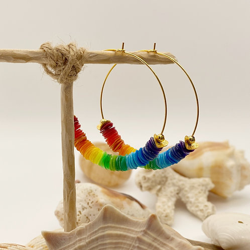 LARGE ROYGBIV Multi-Colored Recycled Disc Bead Hoop Earrings in Gold