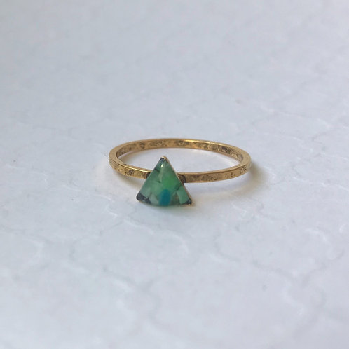 SZ 8 Green Triangle Mindfully Mined Micro Plastic Stacking Ring in Gold