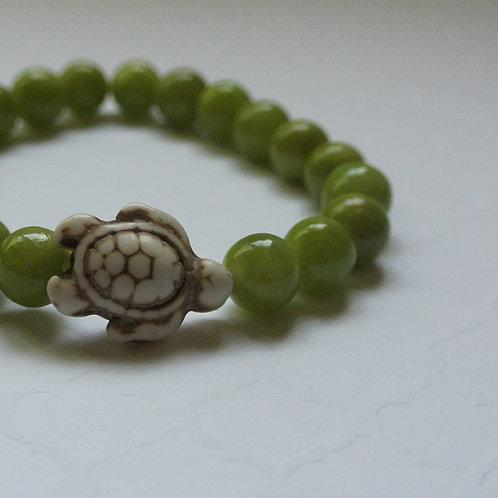Olive Ridley Green Stone Turtle Bracelet