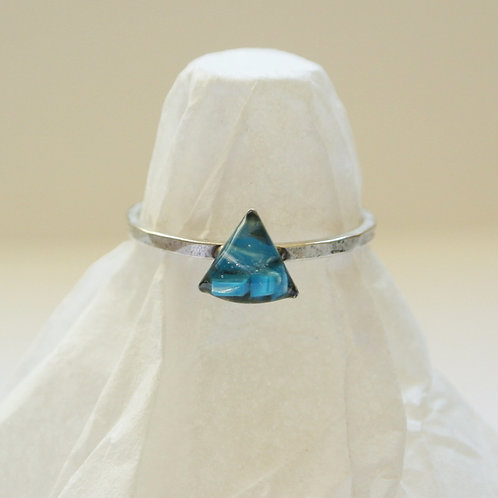 SZ 7 Blue Triangle Silver Mindfully Mined Micro Plastic Stacking Ring