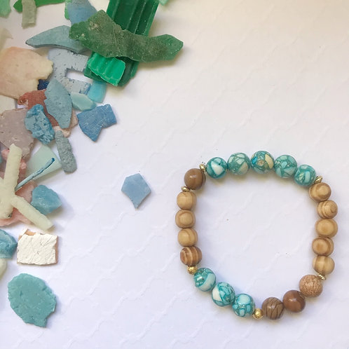 Gaia Stone and Olive Wood Earth Bracelet