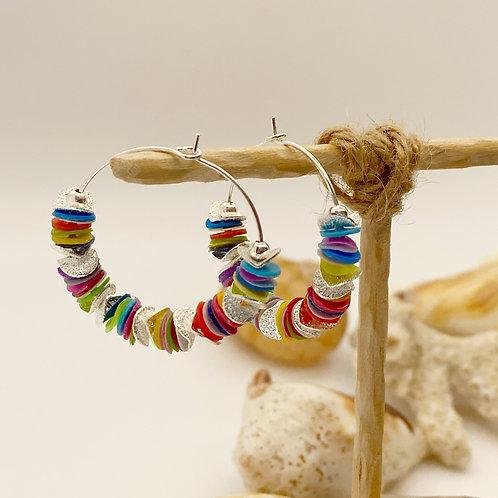 Multi-Colored Recycled Disc Bead Hoop Earrings in Silver