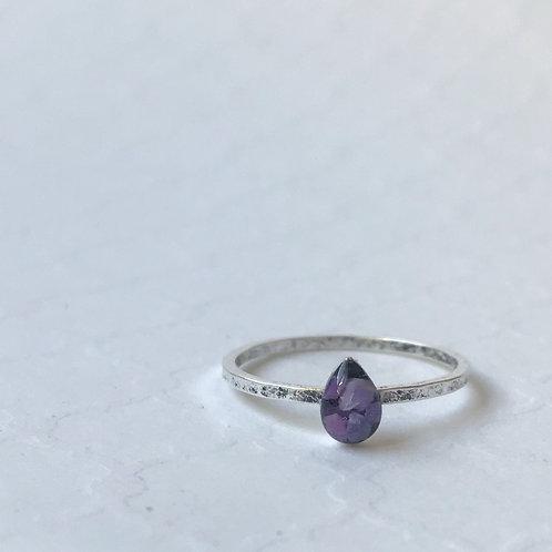 SZ 9 Urchin Purple Teardrop Marine Debris Stone Jewelry Ring in Silver