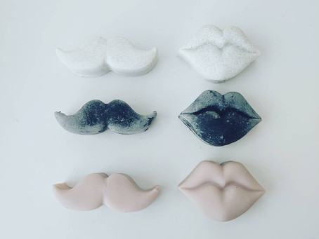 Half size moustache and lips soaps