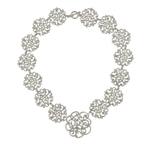 Coralie Flowers Silver Necklace