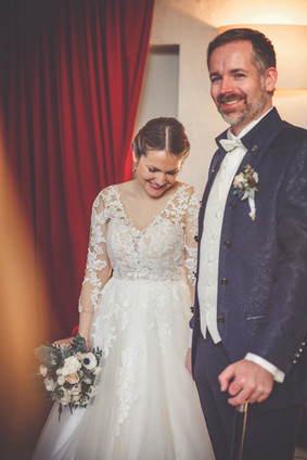 Lachen | Trauung | Brautstrauß