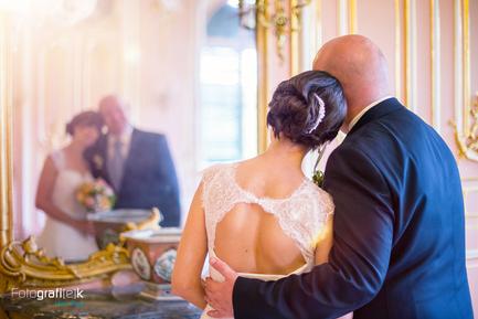 Brautpaar | Spiegel | Brautstrauß