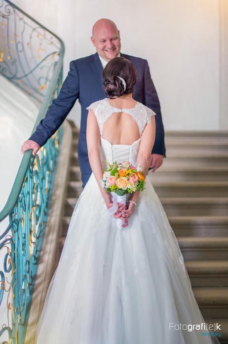 Brautstrauss | Rücken | Treppenaufgang