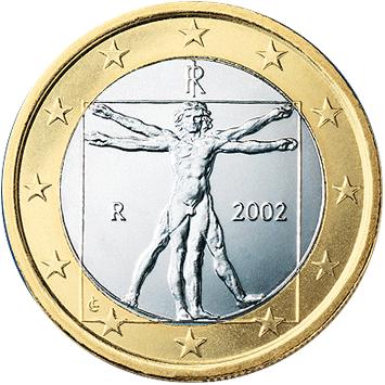 Vitruvianischer Mensch, Von Banca d'Italia - Europäische Zentralbank, PD-Amtliches Werk