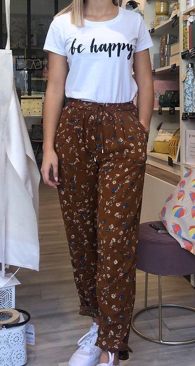 Pantalon fleuri camel