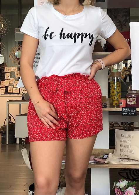 Short fleuri rouge