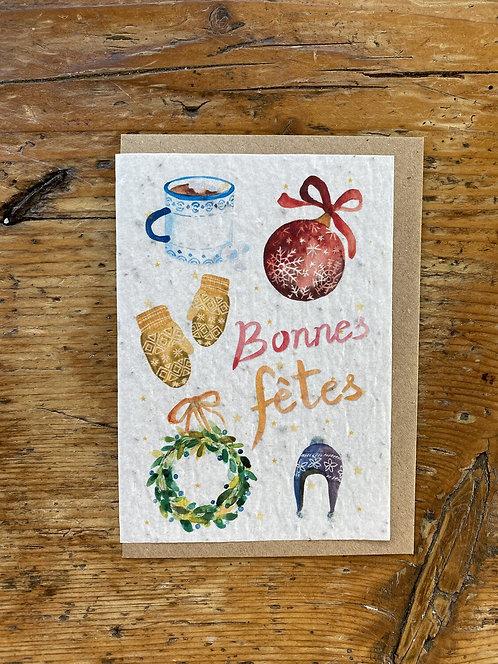 """Carte à planter """"Bonne fêtes"""""""