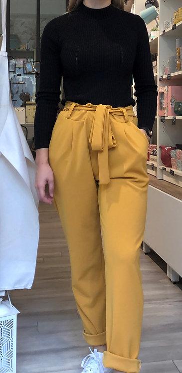 Pantalon fluide moutarde