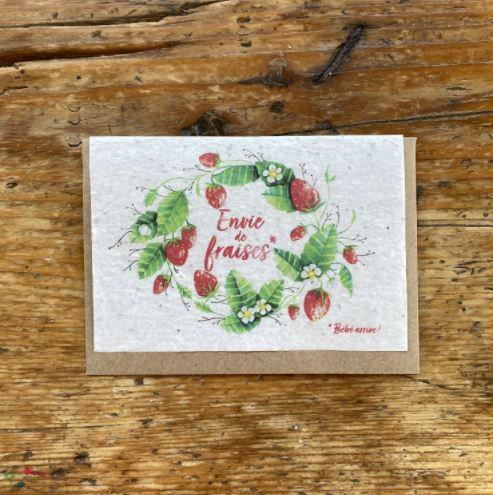 """Carte à planter """"Envie de fraises"""""""