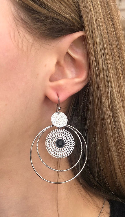 """Boucles d'oreilles """"Onyx"""" argentée"""