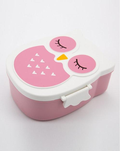 Boîte à goûter chouette rose